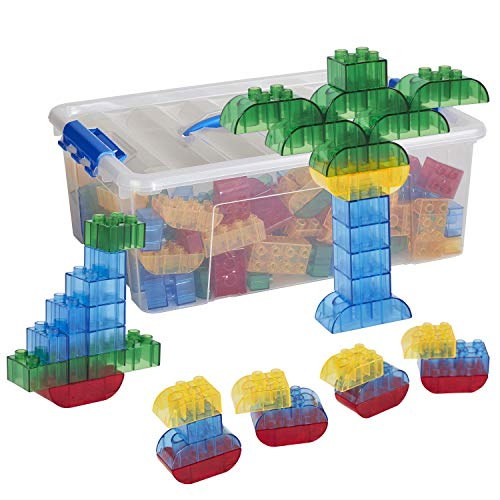 - ECR4Kids Transpara-Bricks Math Manipulative Set, Educational Sensory Learning Toys for Kids (128-Piece Kit)