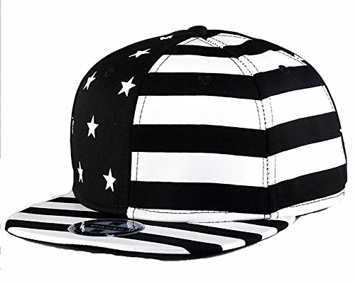 [WUKE USA Flag Snapback Star Striped Casual Caps,Classic Hip-hop Flat Street Dances Hats] (Dancing With The Stars Costumes Designs)