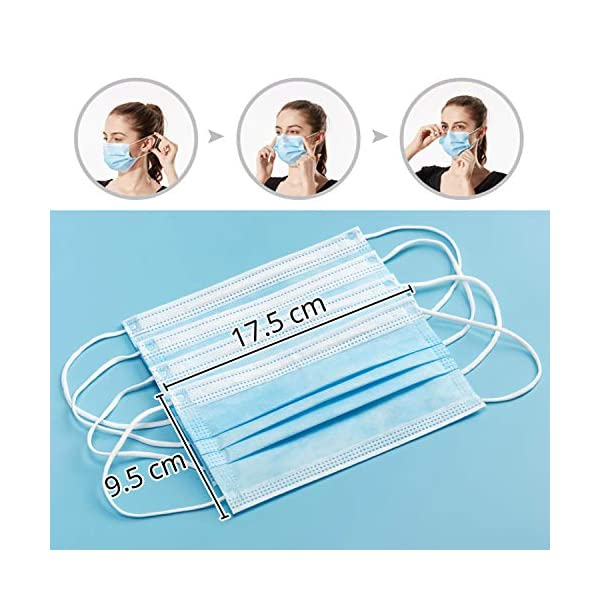 10 Pcs Disposable Face Masks Untire Face Mask With Elastic Earloop 3 Ply Breathable Non Woven Mask Blocking Dust Protective For Home Office Outdoor Blue