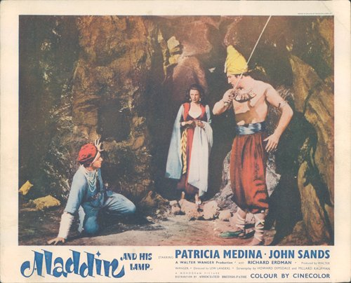 Medina Lamp - ALADDIN AND HIS LAMP PATRICIA MEDINA JOHN SANDS IN CAVE ORIGINAL 1952 LOBBY CARD