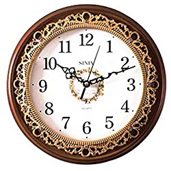 Sinix Antique Analog House Wooden Wall Clock, Non Ticking, 12.5 inch, Brown,