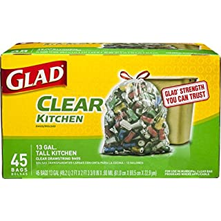 Glad Tall Kitchen Drawstring Recycling Bags - 13 Gallon Clear Trash Bag - 45 Count (Package May Vary)