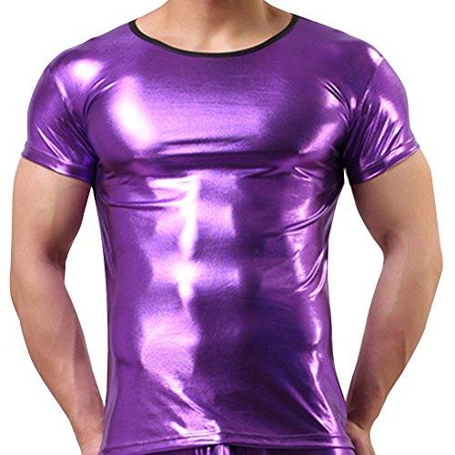 iEFiEL Mens Halloween Glossy Costume Metallic Disco Clubwear T-shirt (M, Purple) (Wet T Shirt Costume Halloween)