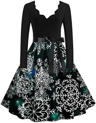 TIANRUN Christmas Dress,Women Vintage Print Plus Size Evening Xmas Costume Retro Party Swing Criss Cross Dresses