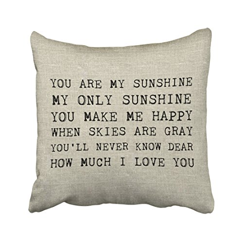 Price comparison product image Emvency Square 18x18 Inches Decorative Pillowcases sunshine you are my sunshine accent pillow Cotton Polyester Decor Throw Pillow Cover With Hidden Zipper For Bedroom Sofa