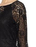 Social Graces Women's Illusion V-Neck Blouson-Sleeve Lace Midi Sheath Dress