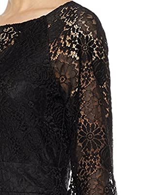 Social Graces Women's Illusion V-Neck Blouson-Sleeve Lace Midi Sheath Dress