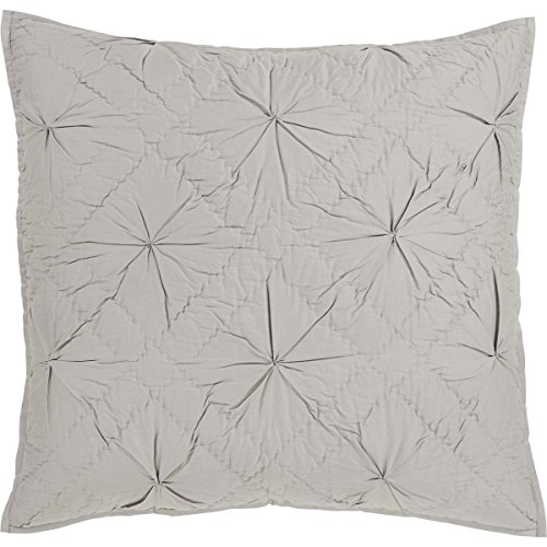 VHC Brands Farmhouse Bedding-Aubree Grey Euro Sham, Stone (Quilted Euro 3 Shams Pillow)