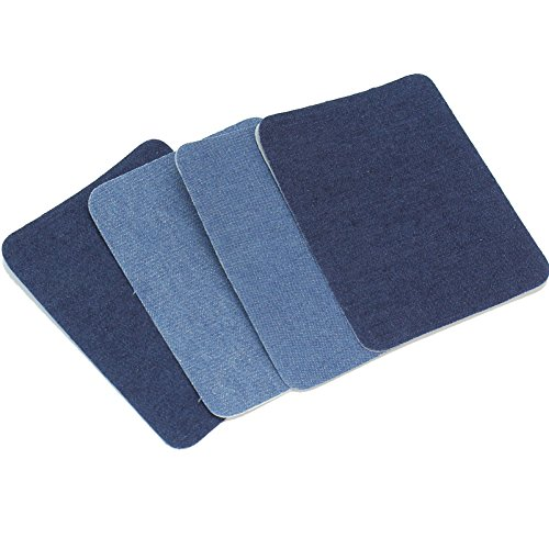4x Denim Jeans Patches 2 Colors for Shirt Sweater Elbow Knee Repairing ()