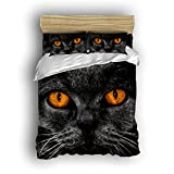 Family Decor Home Bedding Sets 3D Cute Cat Eye Style Print Bedspread Sets For Lovely Teen Girls 4 Pcs Comforter Sets Duvet Cover, Flat Sheet, Shams Set 4Pieces