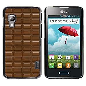 PC/Aluminum Funda Carcasa protectora para LG Optimus L5 II Dual E455 E460 chocolate bar pattern brown sweet / JUSTGO PHONE PROTECTOR