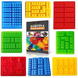 Americas Best Buys Silicone Candy Molds for Lego Lovers with Recipe eBook (8-Pack)