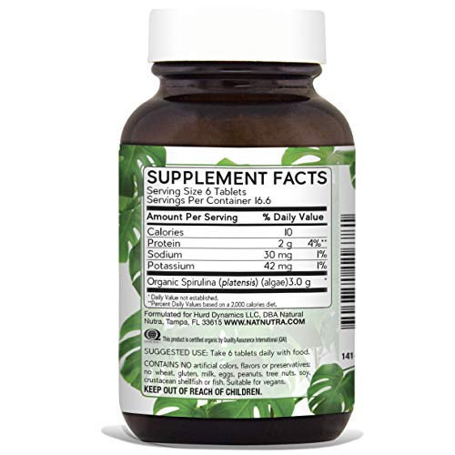 Natural Nutra 100% USDA Organic Spirulina Tablets, Blue Green Algae Protein Pills with Rich Minerals, Vitamins, Chlorophyll, Amino Acids, Carotenoids, Antioxidants and EFAs, 3000 mg, 100 Vegan Tablets