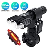 accocam USB Rechargeable Bike Light Set Powerful Lumens Bicycle Light Road Bike Headlight, LED Bike Lights Front and Back Easy to Install for Kids Men Women Cycling Flashlight