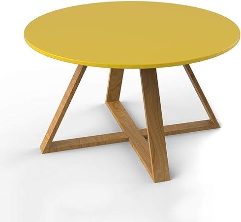 Du hui Muebles Mesa de negociación, Muebles rústicos Granja Ronda de Mesa de café con piernas de Madera de la Cruz, fácil Montaje Mesa Decorativa (Color : Amarillo, tamaño : 50cm): Amazon.es: