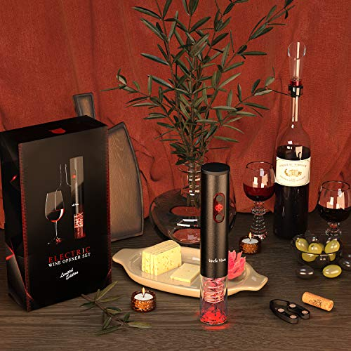 Electric Wine Opener with Charger Black Edition - Gift Set for Wine Lovers-Kit with Batteries and Foil Cutter Uncle Viner by Uncle Viner (Image #5)