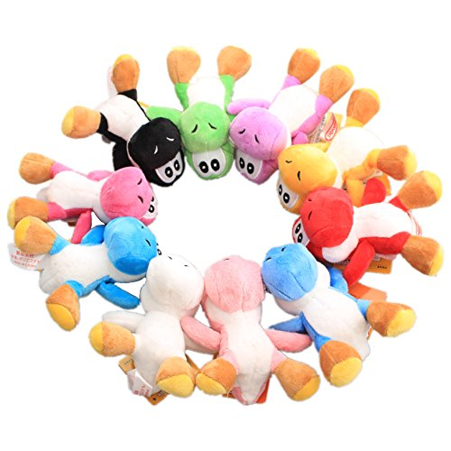 uiuoutoy Super Mario Bros. Yoshi Plush 4.7'' Keychain Doll Toy 10 Pieces Set