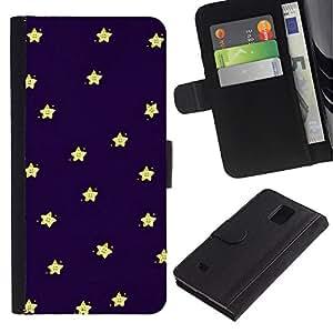 UberTech / Samsung Galaxy Note 4 SM-N910 / Night Sleep Baby Stars Sky Navy Blue Yellow / Cuero PU Delgado caso Billetera cubierta Shell Armor Funda Case Cover Wallet Credit Card