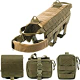 Pettom Tactical Dog Training Molle Vest Suits Harness with Detachable Pouches