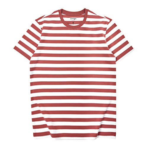 (Zengjo Essential Stripes T-Shirts Comfort Short-Sleeve Crew-Neck Striped Tee Top (XL, Brick Red&White WD) )