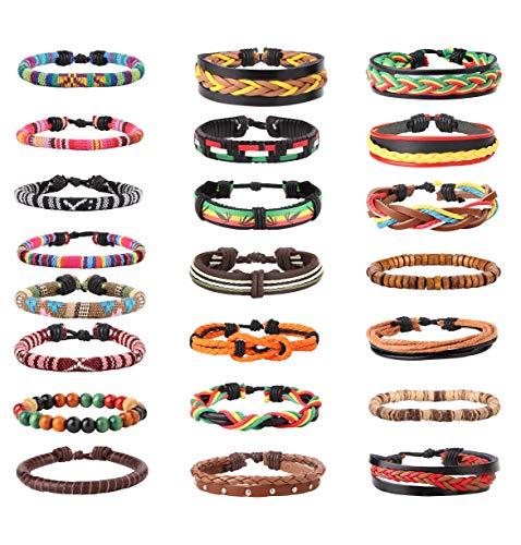 LOYALLOOK 22Pcs Braided Leather Bracelet Cords Linen Hemp Wooden Beads Bracelets Ethnic Tribal Bracelets Adjustable Wristbands for Men Women