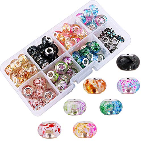 Fishdown 70 PCS Murano Lampwork Crystal European Beads 5mm Large Hole Beads fit European Chain for Jewelry Making Bracelet with Metal Spacer Beads Pendants Charms & 2 pcs Snake Chain