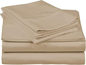 600-Thread-Count Best 100% Egyptian Cotton Sheets & Pillowcases Set - 4 Pc Sand Long-Staple Combed Cotton Bedding Twin Sheet for Bed, Fits Mattress Upto 18'' Deep Pocket, Soft & Silky Sateen Weave