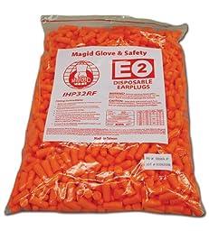 Magid IHP32RF Polyurethane Foam E2 Disposable Uncorded Foam Earplug, One Size Fits All, Fluorescent Orange  (Bag of 500)