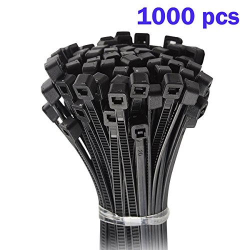 Nylon Cable Zip Ties - Heavy Duty Industrial Grade Wire Ties - 6 inch Length - Cable Tie Mounts - UL Certified - Perfect for Organizing Wires, Home & Office Use 1000-Pack - Black Plastic Ties from Conshine
