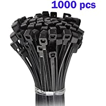 Nylon Cable Zip Ties - Heavy Duty Industrial Grade Wire Ties - 6 inch Length - Cable Tie Mounts - UL Certified - Perfect for Organizing Wires, Home & Office Use 1000-Pack - Black Plastic Ties