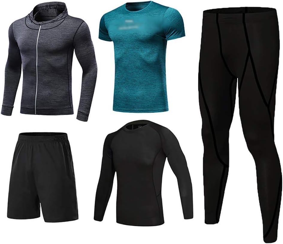 スポーツ速乾スーツヨガ服エクササイズ服メンズスポーツスーツ All 黒 + 緑 + dark gray Small