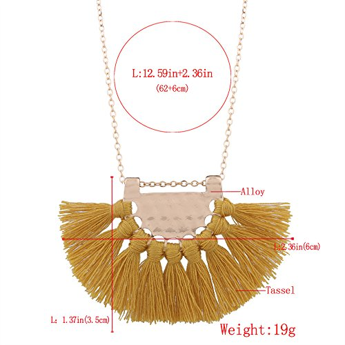 Tassel Pendant Necklace,Haluoo Bohemia Gold Plated Pendant Silky Fringe Tassle Necklace Women Geometric Sector Pendant Necklace Girls Gold Plated Long Sweater Chain Necklace Boho Jewelry (Yellow)