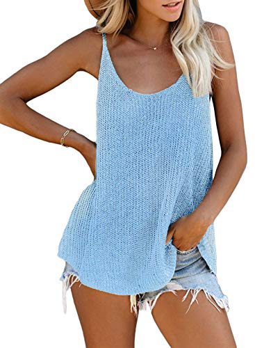 AlvaQ Women Summer Strappy Knit Tank Tops Loose Casual Sleeveless Shirts Camis
