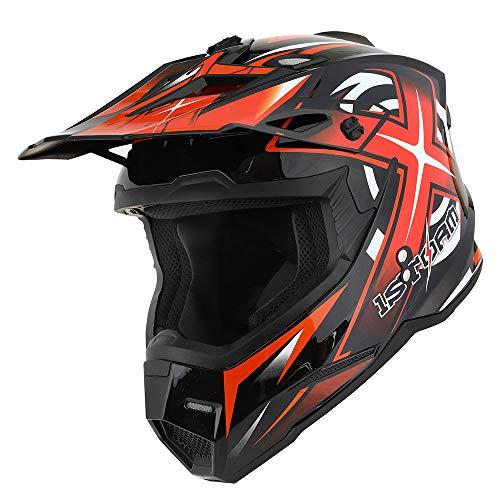 1Storm Adult Motocross Helmet BMX MX ATV Dirt Bike Helmet Racing Style HF801; Sonic Orange (Helmets Orange Bike Dirt)