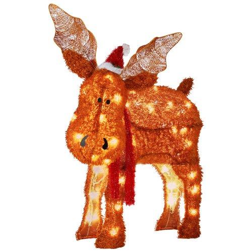 Set Of Two Plush Moose Hanging Christmas Decorations ...