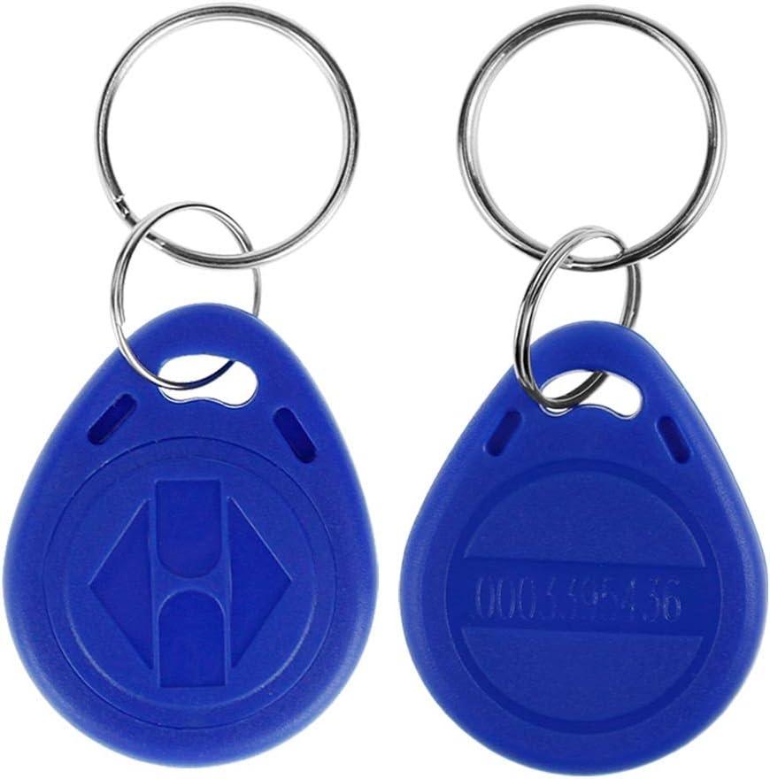 LIBO Tarjeta clave inteligente ID 125KHz Tarjeta de clave de Control de Acceso RFID Proximidad EM4100 TK4100 Keyfobs Llaveros NFC Token 10, Azul