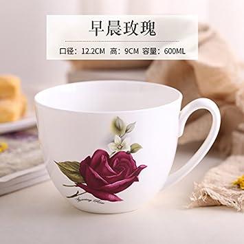 LOYWT porcelana taza, de gran capacidad de taza de leche, harina de avena desayuno