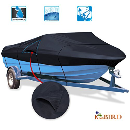 Kingbird 600D 3000PA Waterproof Boat Cover with Vents Heavy Duty Storage Boat Cover Fits for V-Hull, Tri-Hull, Runabout Boat Beam with Storage Bag (Dark Grey) - 3 Sizes (16-18.5 ft, (V-hull Outboard Custom Boat Cover)