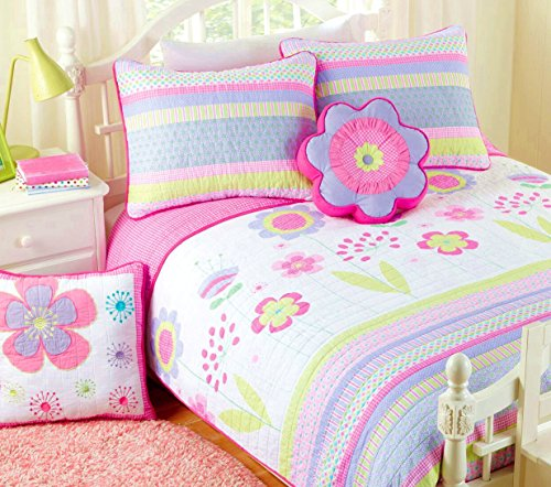 Cozy Line Home Fashions 4-Piece Blossom Bedding Quilt Set, Pink Orchid Green Reversible Bedspread, Coverlet, 100% Cotton, Gifts for Kids, Girls (Twin - 4pc: 1 Quilt + 1 sham + 2 Decorative Pillows) (Bedding Childrens Quilts)