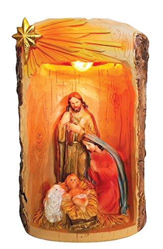 (7.5 Inch Holy Family with Light Home Decoration Lamp Decorative Votive Religious Light Saint Mary, Saint Joseph and Jesus Statue)