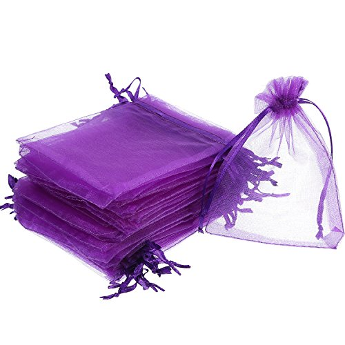 Mudder 50 Pack Organza Gift Bags Wedding Party Favor Bags Jewelry Pouches Wrap, 4 x 4.72 Inches (Dark Purple)