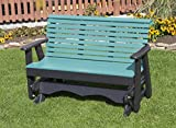 4FT-ARUBA BLUE-POLY LUMBER ROLL BACK Porch GLIDER Heavy Duty EVERLASTING PolyTuf HDPE - MADE IN USA - AMISH CRAFTED