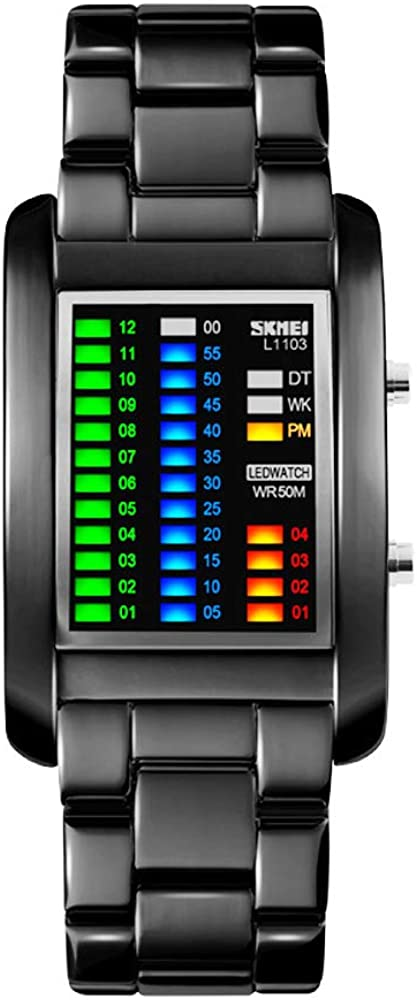 funkytop binario Matrix LED Digital impermeable reloj Mens Classic creativos Mode Negro cubierto de pulsera Relojes