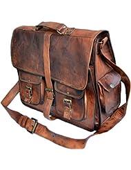 Jaald Mens Genuine Leather Large Laptop Bag Messanger Bag for Upto 15.6 Laptop bag for Macbook