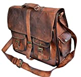 "DIMENSION: The external dimension of this bag is 12"" Height * 16"" Width * 5"" Depth. It is a messenger bag which is good for school, college, business, work, overnight etc. PREMIUM MATERIAL: Superior Top grain Goat leather ,masterfully sewed with dura..."