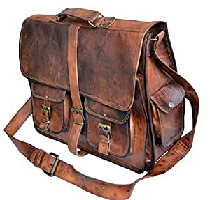 "16"" Leather Messenger Bag Laptop case Office Briefcase Men Computer Distressed Shoulder Bag"