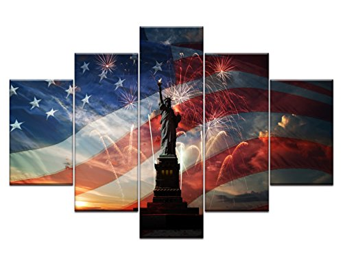 American Flag Wall Art Morden Statue of Liberty Fireworks