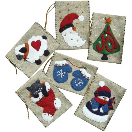 Embroidery Pattern Wool - Rachel's Of Greenfield Gift Bag Ornaments Kit-3