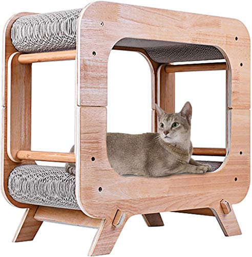 JR Knight Cat Scratching Post, Cat Bed,Wooden Cat House,Kitten Bed, Cat Scratching Pad for Furniture Protection