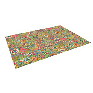 "Kess InHouse Julia Grifol ""My Butterflies and Flowers in Green"" Rainbow Floral Outdoor Floor Mat/Rug, 8 by 8-Feet"
